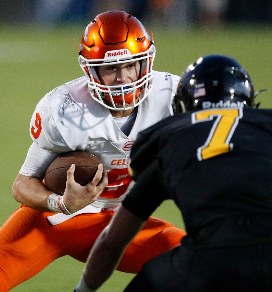 Celina High School quarterback Hunter Watson (9) tries to get past Memorial High School defensive back Ethan Harrison (7) during the first half as Memorial High School hosted Celina High School in a football game played at Toyota Stadium in Frisco on Friday night , August 31, 2018.  (Stewart F. House/Special Contributor)
