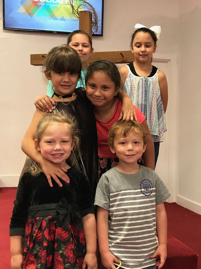 Among the victims of Sunday's shooting at First Baptist Church in Sutherland Springs were four of the six children shown here, including three siblings: Brooke Ward (front left), who died; Ryland Ward (front right), who was shot four times; and their sister Emily Garza (above him, in red), who died. Rhianna Garza (top left) was at the church but is OK. The two others shown were not there: Haley Ward (second row left), and McKinley Ward, (top right), who is a cousin of Emily, Ryland and Brooke.