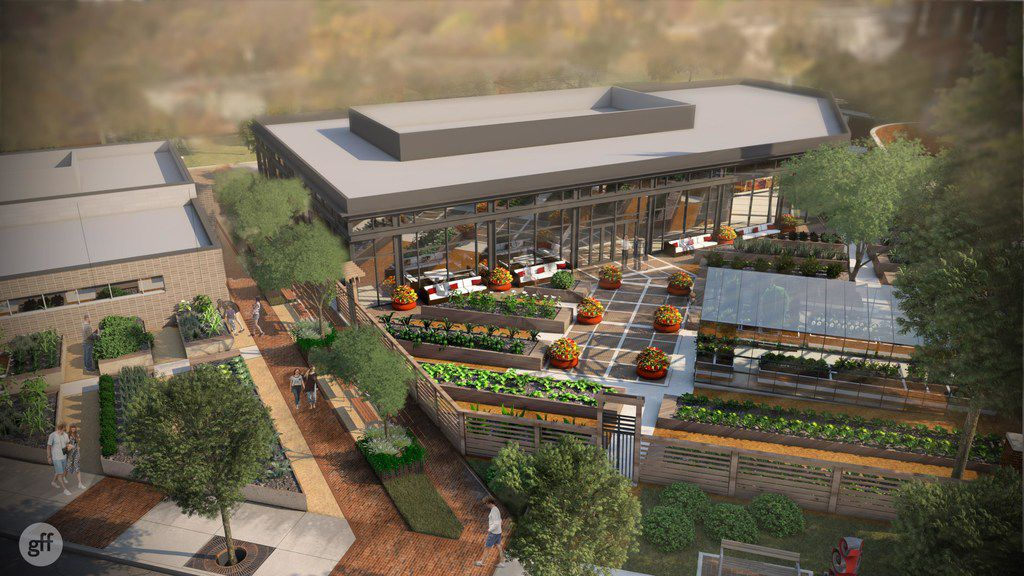 Drawings of a garden located behind a new building that will be facing Henderson Avenue between Glencoe Street and McMillan Avenue in East Dallas. It's part of a 156,500-square-foot office, retail and restaurant development planned by Dallas-based Open Realty Advisors. It's expected to be completed in 2020.