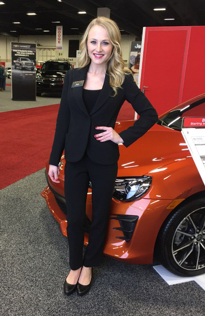 Carly White, pictured here as Toyota product specialist, has worked for Productions Plus for five years. She has worked auto shows all over the country.