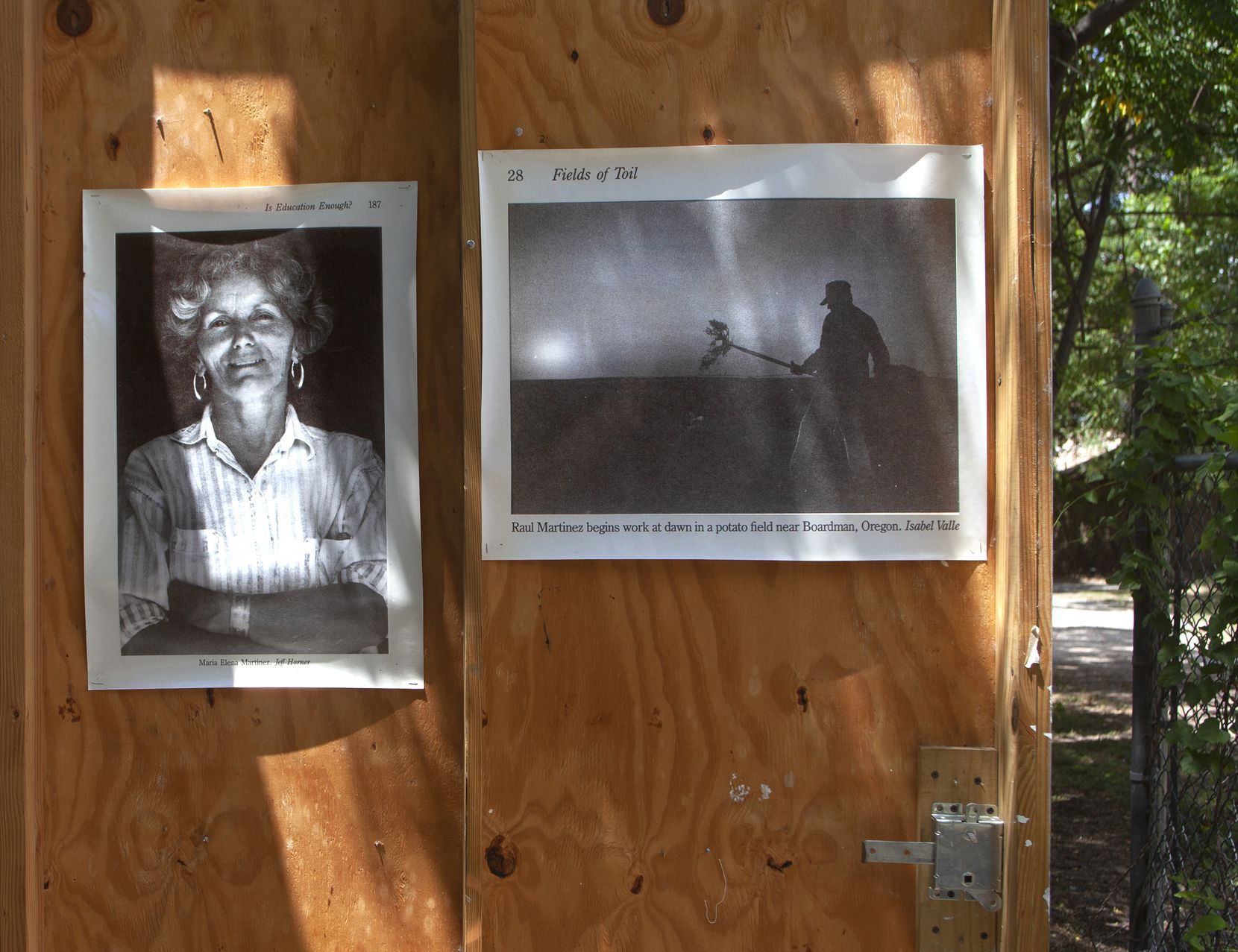 Photographs of (from left) Maria Elena Martinez (by Jeff Horner) and Raul Martinez (by Isabel Valle) taken of the grandparents of Leslie Martinez, from the book 'Fields of Toil: A Migrant Family's Journey' by Isabel Valle.  Reporter Isabel Valle spent an entire year with this migrant family reporting on life with a migrant family as they resided and worked in the Inland Pacific Northwest and South Texas.