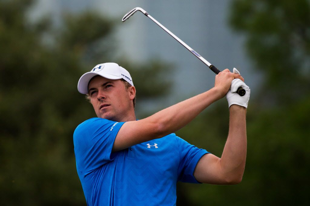 Jordan Spieth plays his shot from the 13th tee during the second round of the AT&T Byron Nelson golf tournament on Friday, May 20, 2016, in Irving, Texas. (Smiley N. Pool/The Dallas Morning News)