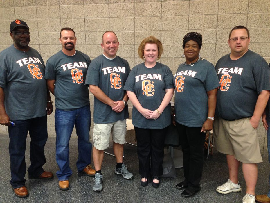 Queen City ISD school board members proudly posing at the 2014 TASB convention in Dallas.