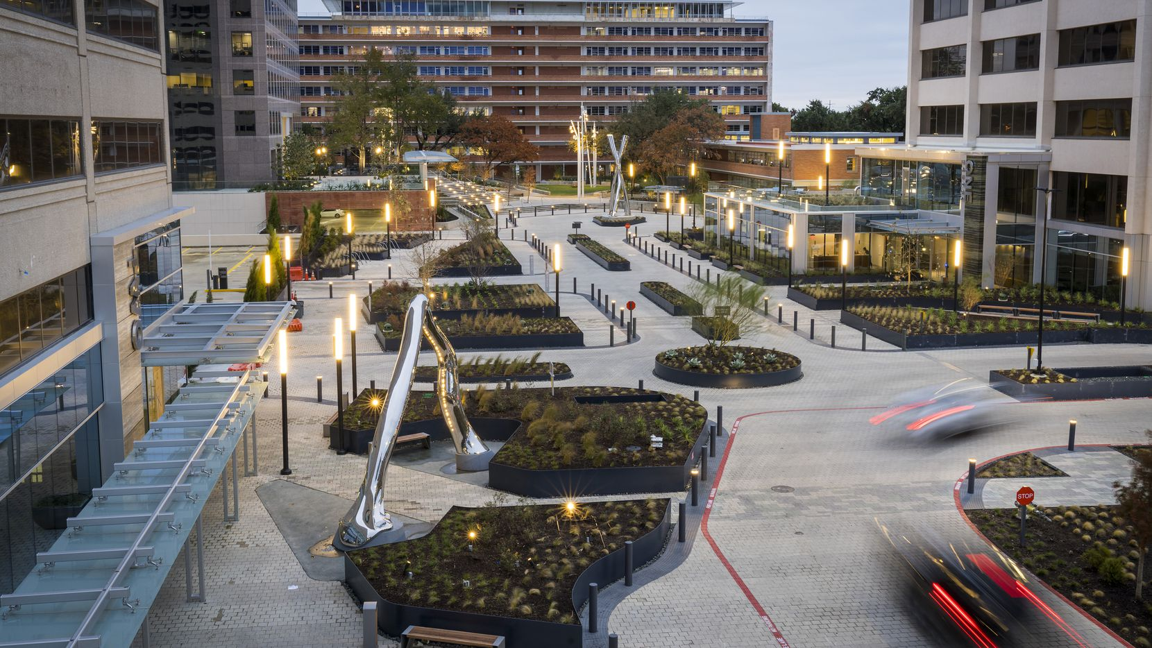 A view of the new plaza after a $50 million makeover of the Energy Square office campus.