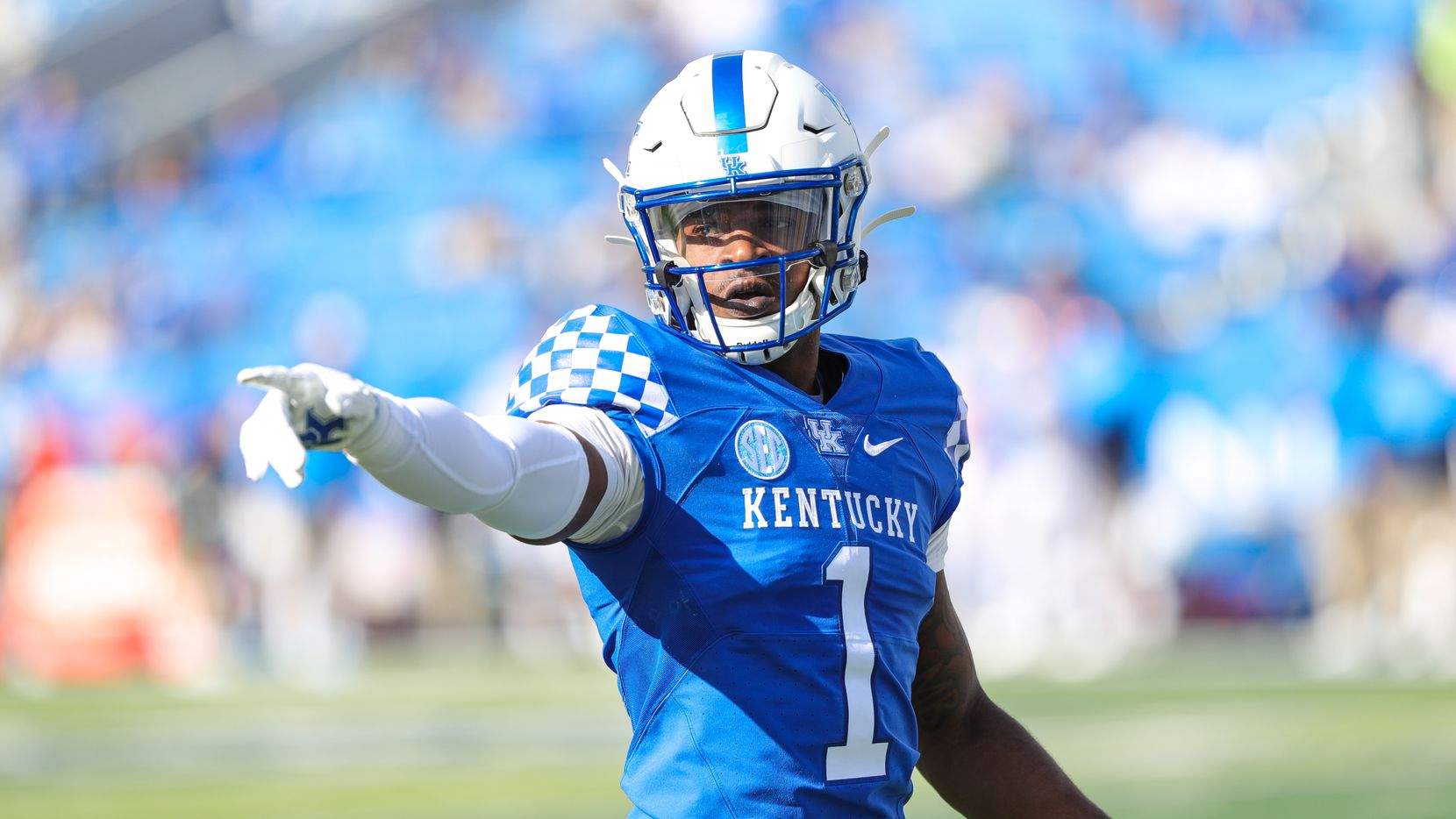 Kelvin Joseph #1 of the Kentucky Wildcats prepares for a play against the Ole Miss Rebels on October 3, 2020 at Commonwealth Stadium in Lexington, Kentucky.