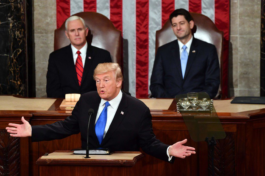 In this file photo taken on January 30, 2018, US President Donald Trump delivers the State of the Union address at the US Capitol in Washington, DC. - The top Democrat in Congress on Wednesday, January 16, 2019 urged President Donald Trump to postpone his upcoming annual State of the Union address, citing security shortcomings due to the ongoing partial government shutdown. Trump was due to deliver his speech, in which a president lays out his legislative agenda and provides an economic status report to the nation, on January 29th.