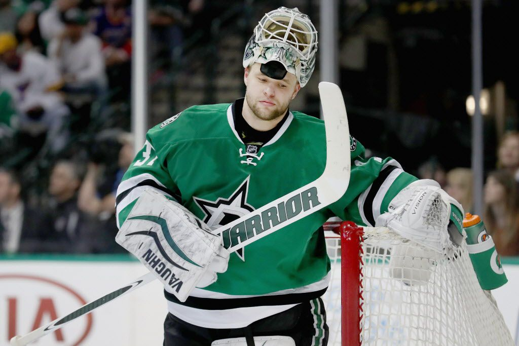DALLAS, TX - MARCH 12:  Antti Niemi #31 of the Dallas Stars reacts after giving up a goal against the St. Louis Blues in the second period at American Airlines Center on March 12, 2016 in Dallas, Texas.  (Photo by Tom Pennington/Getty Images)