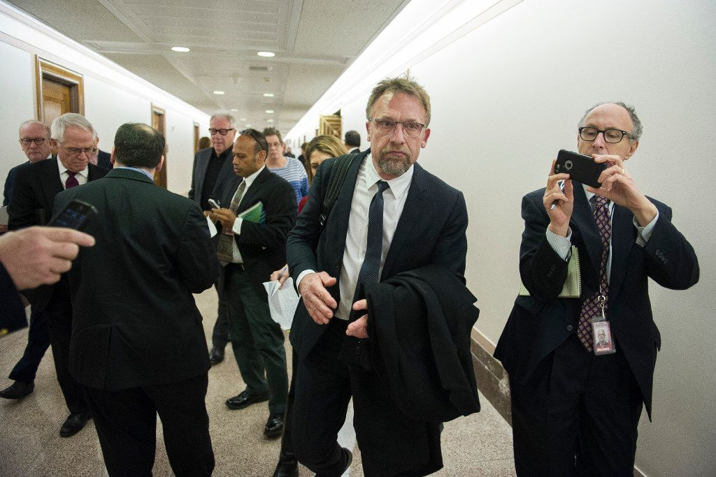 Backpage.com CEO Carl Ferrer leaves the Senate Homeland Security and Governmental Affairs subcommittee hearing on Capitol Hill in Washington on Tuesday.