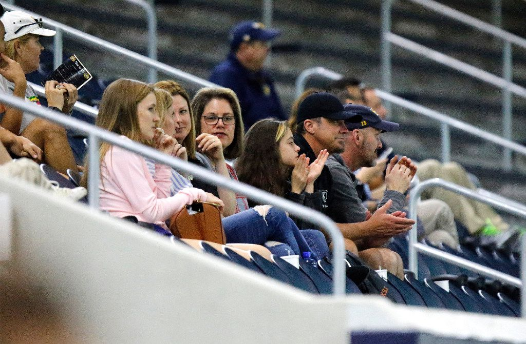 Part of the crowd reacts to action on the field during the seond half as Highland Park played the Frisco Fury as part of the Patriot Cup lacrosse tournament at The Ford Center at The Star in Frisco on Saturday, February 18, 2017. (Stewart F. House/Special Contributor)