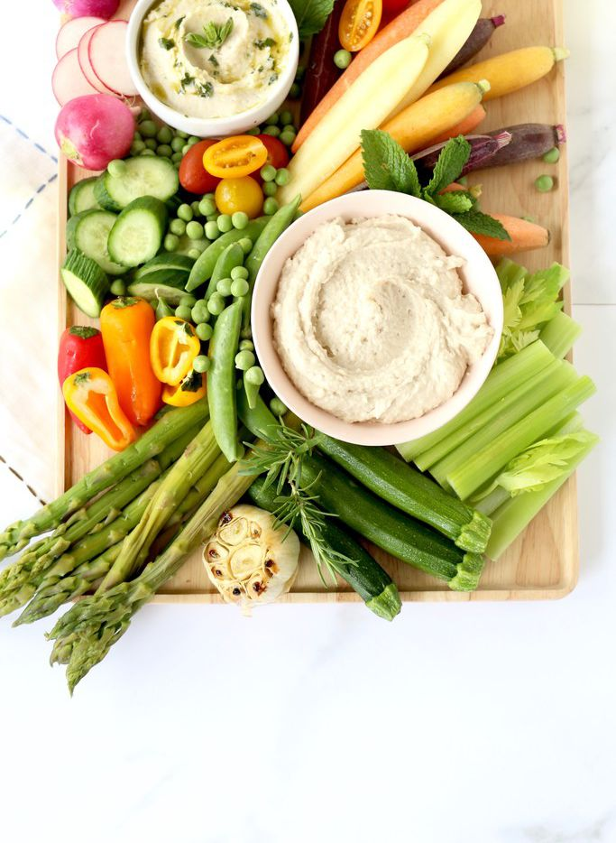 Spring Vegetable Crudités with White Bean Dip