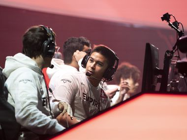 """Anthony """"Shotzzy"""" Cuevas-Castro, second from left, prepares for Dallas Empire's match against Atlanta Faze in the Call of Duty League Launch Weekend at the Armory in Minneapolis, Minn., January 25, 2020."""