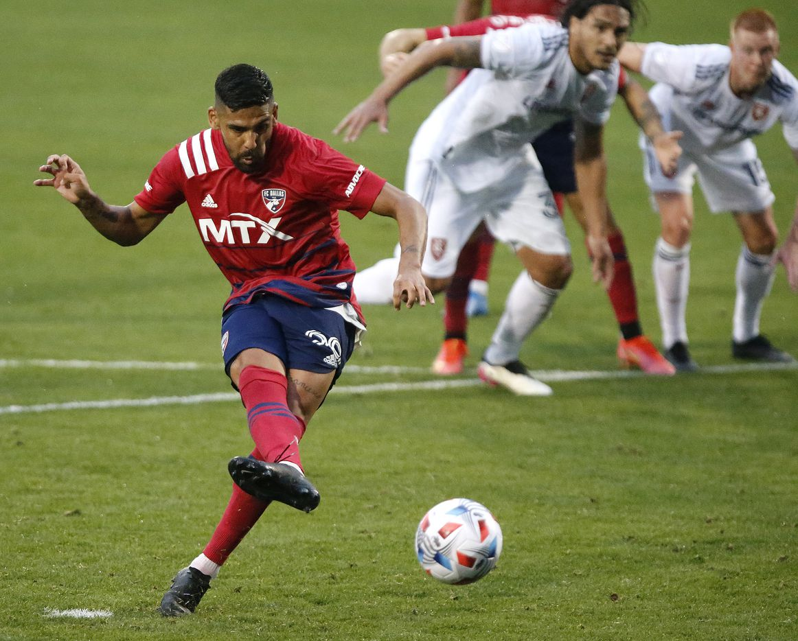 FC Dallas forward Franco Jara (29) scores on a penalty kick during the first half as FC Dallas hosted Real Salt Lake at Toyota Stadium in Frisco on Saturday, May 22, 2021. (Stewart F. House/Special Contributor)