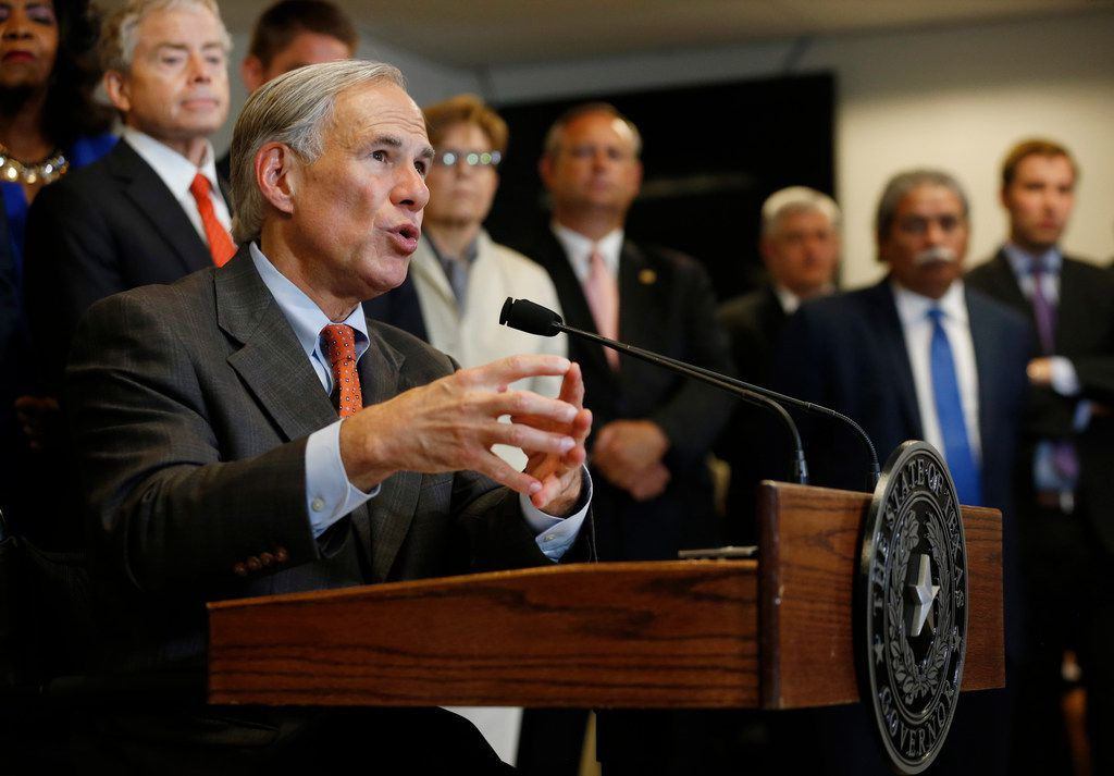 Texas Gov. Greg Abbott unveiled his plan to enhance school safety during a news conference at Dallas Independent School District headquarters on May 30.