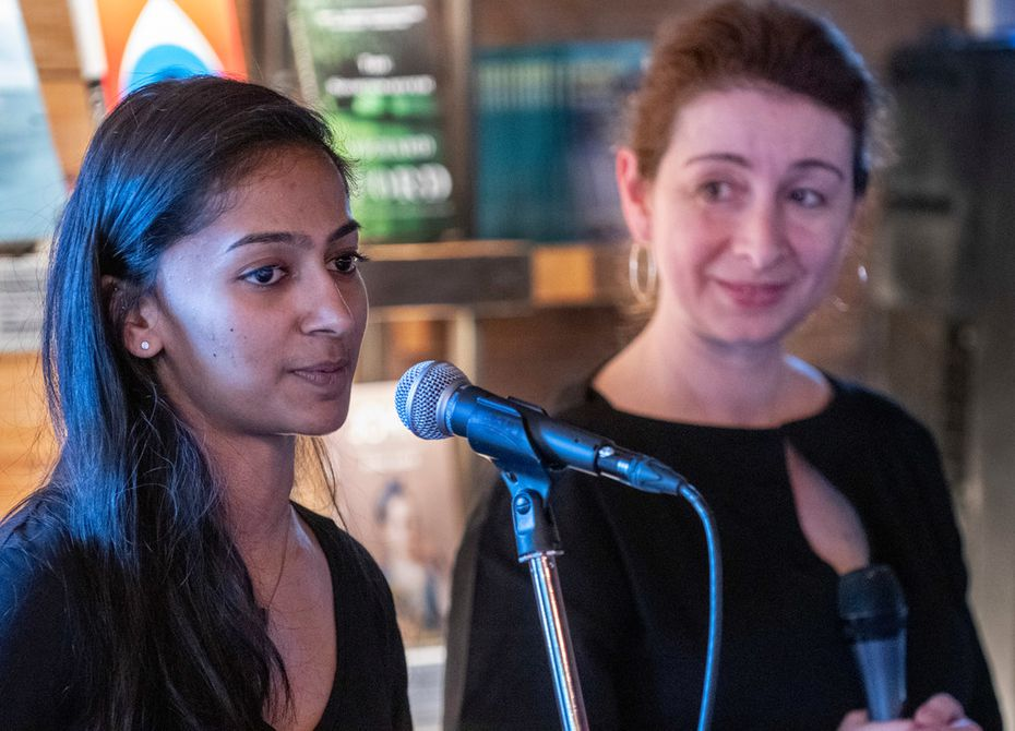 Aparna Kumar (left) and Anna Kuchment co-hosted the event. Kumar is a Dallas-based writer and producer, and Kuchment is a Dallas Morning News science reporter and a contributing editor for Scientific American.