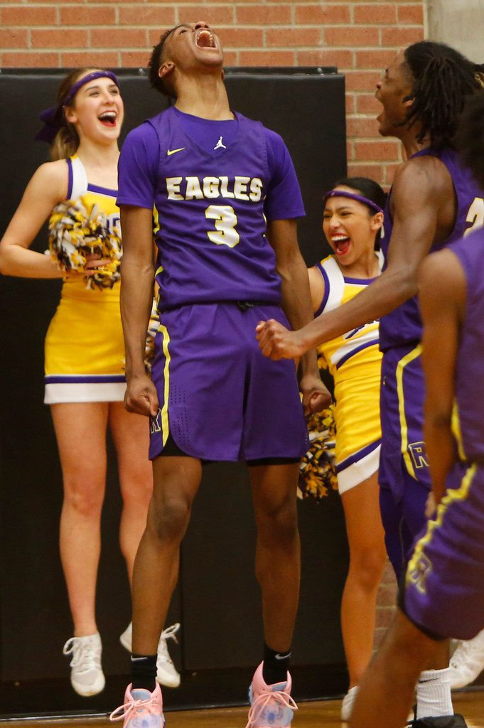 With less than 30 seconds left in the game, Richardson guard Rylan Griffen (3) finished off a thunderous dunk with an impromptu howl under the basket where he was joined in celebration by Eagles cheerleaders and teammate Cason Wallace (22). Richardson defeated DeSoto 63-51 to advance. The two teams played their Class 6A boys bi-district playoff basketball game at Forney High School in Forney on February 24 2020. (Steve Hamm/Special Contributor).