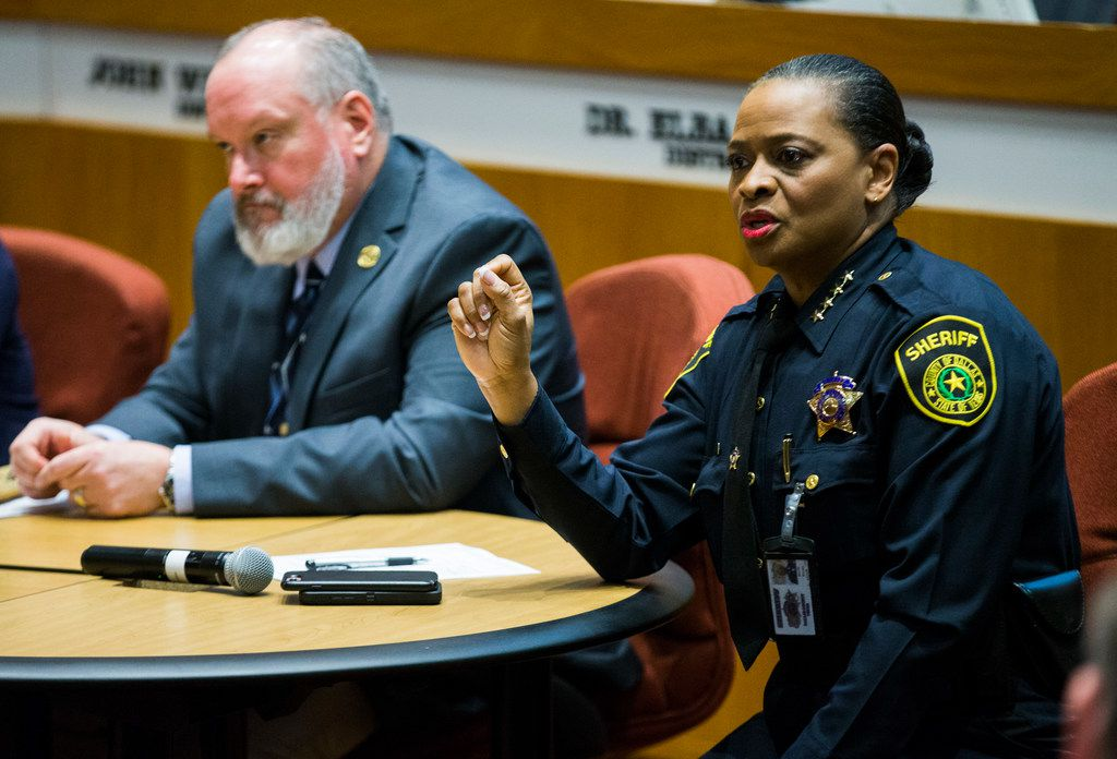 Dallas County Sheriff Marian Brown speaks after the Texas Commission on Jail Standards announces to Dallas County commissioners and Sheriff's Department that the Dallas County Jail passed a weeklong inspection. At left is Shannon Herklotz, assistant director of the Texas Commission on Jail Standards.