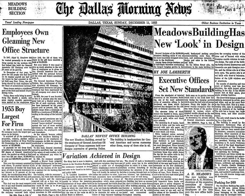 The 1955 opening of the Meadows Building was front-page news.
