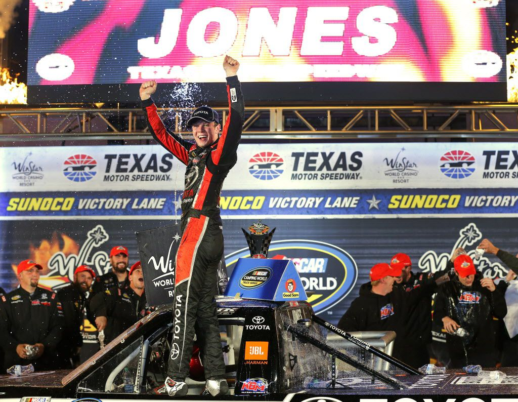 NASCAR Camping World Truck Series 19 yr-old driver Erik Jones of the No. 4 Toyota sponsored Toyota celebrates in Victory Lane after winning the WinStar World Casino & Resort 350 at the Texas Motor Speedway in Fort Worth, Friday, November 6, 2015.