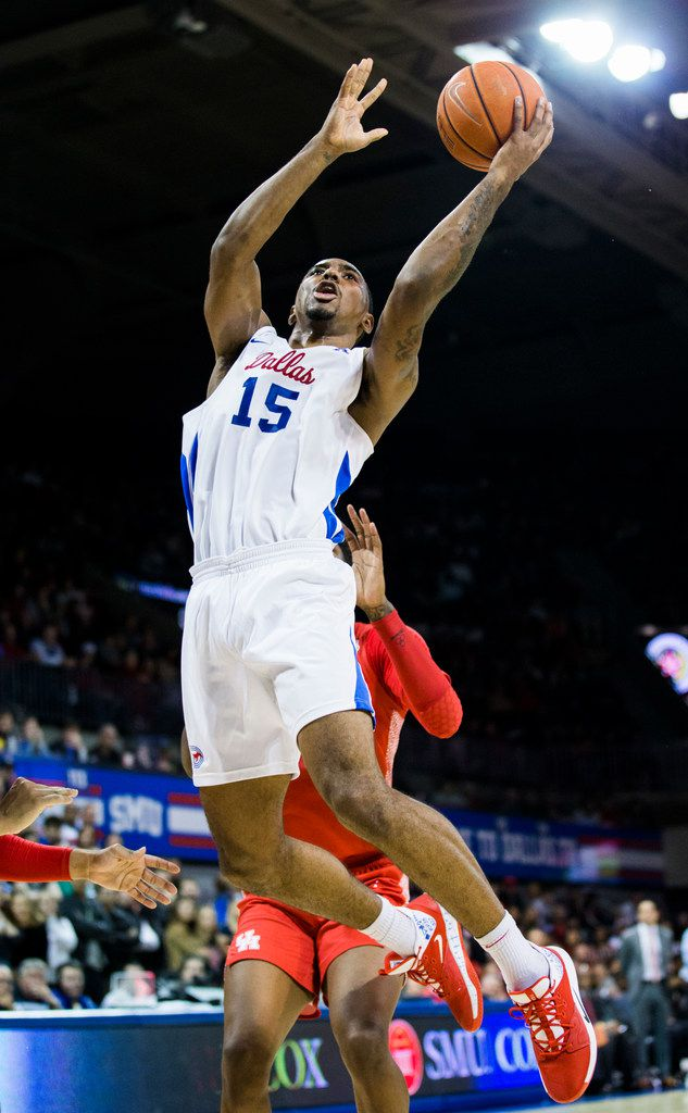 Southern Methodist Mustangs forward Isiaha Mike (15) goes up for a shot during the second half of a basketball game between SMU and University of Houston on Saturday, February 15, 2020 at Moody Coliseum in Dallas. (Ashley Landis/The Dallas Morning News)