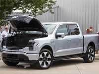 The new electric Ford F-150 Lightning truck was on display outside The Rustic in Dallas on July 15.