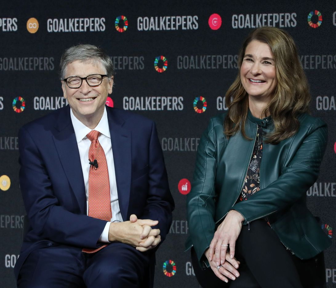 Bill Gates and his wife Melinda Gates speak during the Goalkeepers event at the Lincoln Center on September 26, 2018, in New York. (Photo by Ludovic MARIN / AFP)        (Photo credit should read LUDOVIC MARIN/AFP/Getty Images)