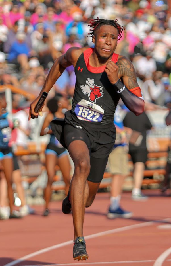 Dacorey Ware of Cedar Hill competes in the 6A Boys 4x200 meter relay during the UIL state track meet at the Mike A. Myers Stadium, at the University of Texas on May 8, 2021 in Austin, Texas.