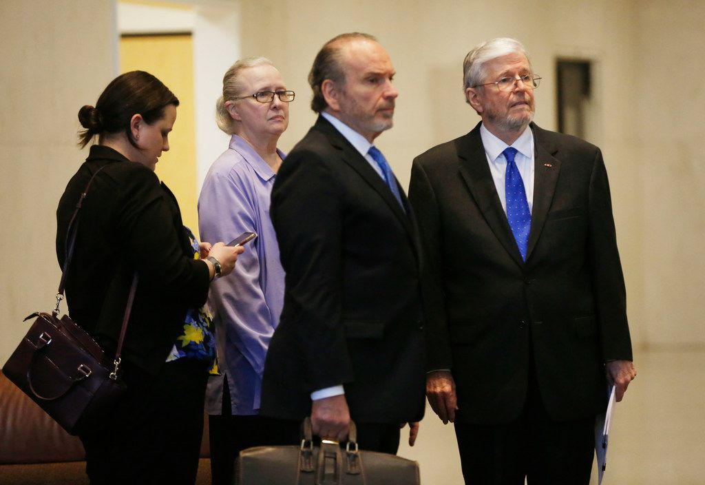 Former Dallas County Schools board president Larry Duncan (far right) stood with his attorney, Barry Sorrels and family before leaving the Earle Cabell Federal Building after his sentencing Tuesday, April 9, 2019. Duncan was sentenced to three years of probation for tax evasion, six months of home confinement and $45,163 in restitution.