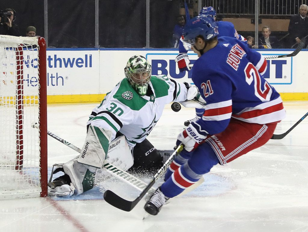 NEW YORK, NEW YORK - NOVEMBER 19: Ben Bishop #30 of the Dallas Stars makes the second period save on Brett Howden #21 of the New York Rangers at Madison Square Garden on November 19, 2018 in New York City. The Rangers defeated the Stars 2-1. (Photo by Bruce Bennett/Getty Images)