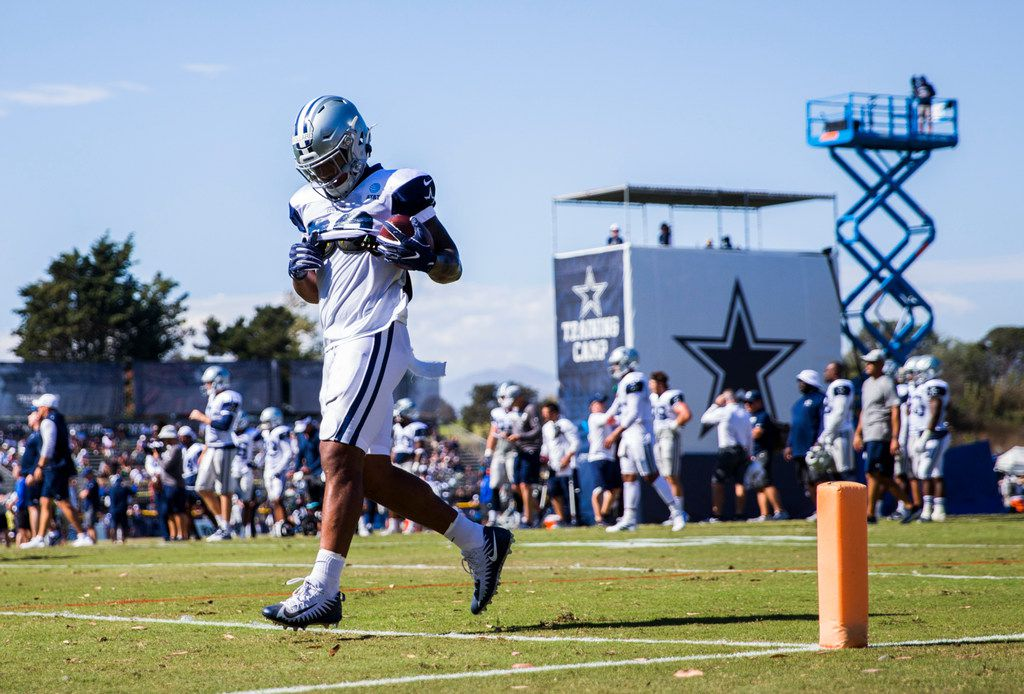 Dallas Cowboys running back Tony Pollard (36) runs to the end zone during an afternoon practice at training camp in Oxnard, California on Tuesday, August 6, 2019. (Ashley Landis/The Dallas Morning News)