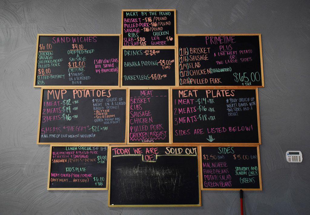 The menu at Winners BBQ in Plano.