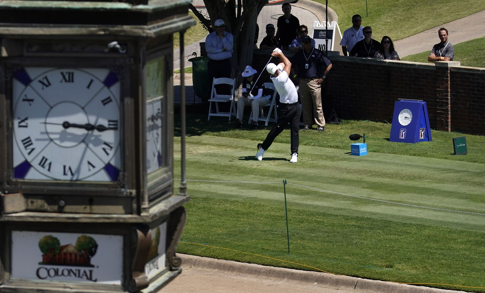PGA Tour golfer Brooks Koepka tees off on No. 10  during the opening round of the Charles Schwab Challenge at the Colonial Country Club in Fort Worth, Thursday, June 11, 2020.  The Challenge is the first tour event since the COVID-19 pandemic began. (Tom Fox/The Dallas Morning News)