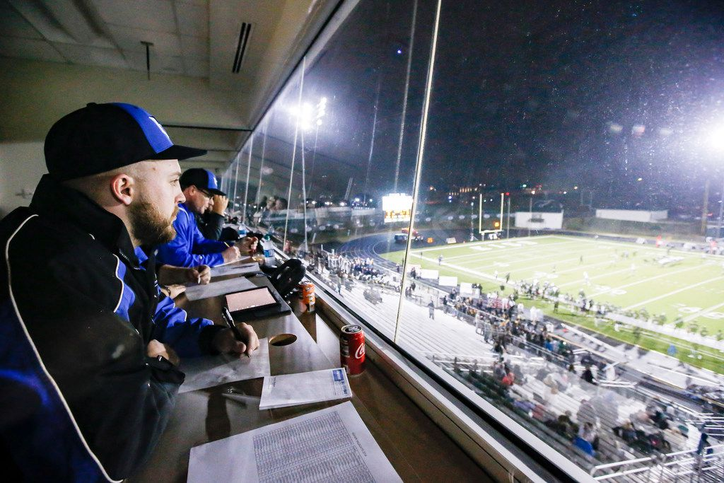 (L to R) Hebron High School's football scout Adam Gotwalt scouts the Denton Guyer team during their game against Keller Fossil Ridge at the Keller ISD Athletic Complex, Thursday, November 8, 2018. (Brandon Wade/Special Contributor)