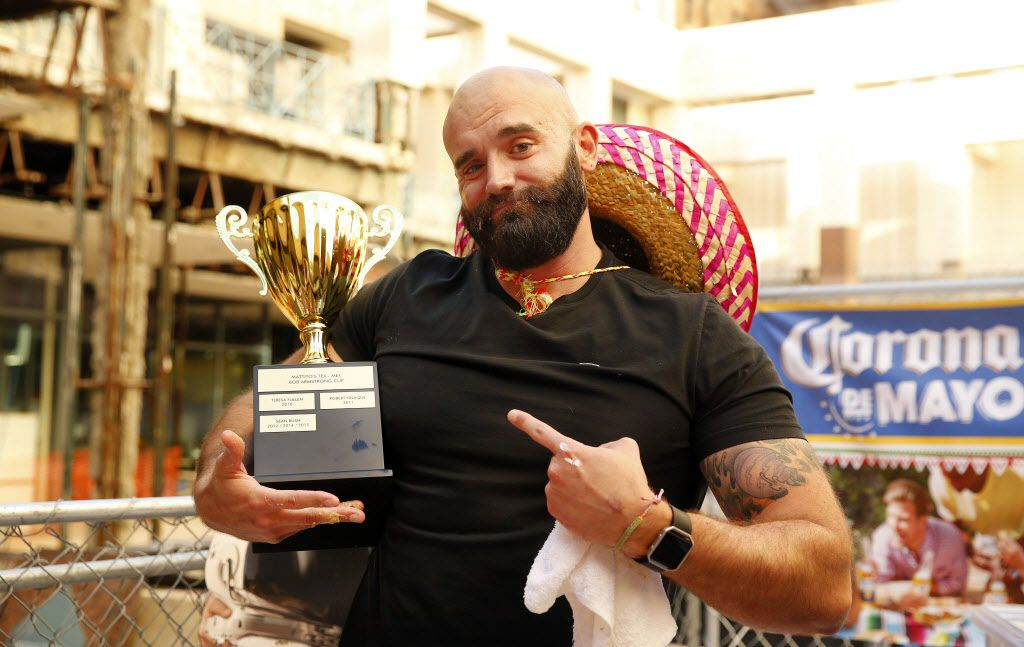 In celebration of Cinco De Mayo, Mattito's Tex-Mex restaurant in the Uptown area of Dallas held a queso eating competition, Thursday, May 5, 2016. Winner Bradley Johnson, using chips to devour 4 pounds of queso, took the winning Bob Armstrong Cup and a years worth of queso at the restaurant. (Tom Fox/The Dallas Morning News)