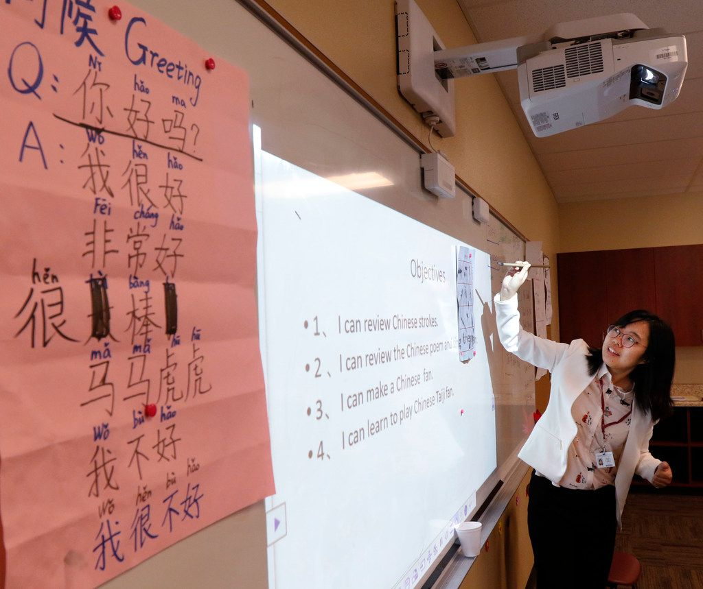 Qiongyu Hu teaches Chinese to her students at International Leadership of Texas Keller-Saginaw High School.