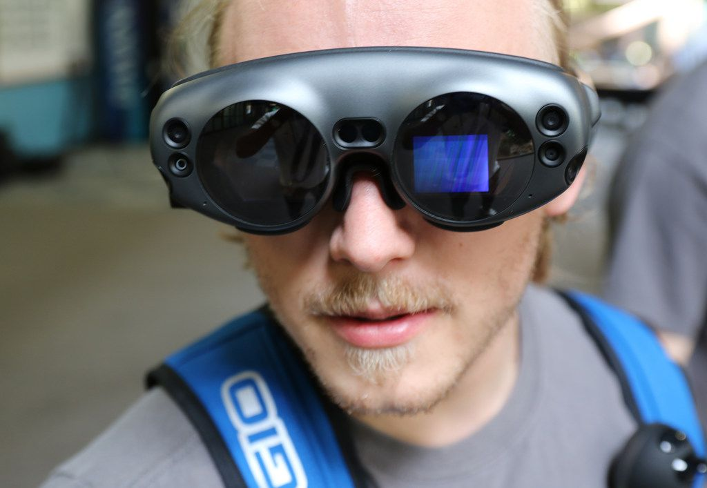 University of North Texas junior Andrew Jarrett tries out augmented reality goggles made by students in the College of Engineering during a demonstration Wednesday in Denton. The goggles are part of the students' project for the NASA Spacesuit User Interface Technologies (SUITS) Design Challenge.