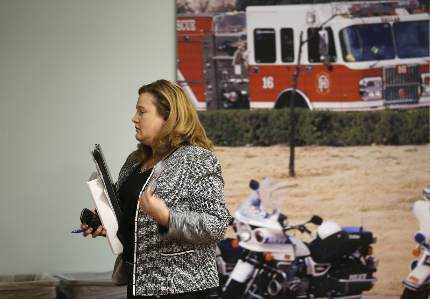 Kelly Gottschalk, the pension's current director, leaves a board meeting in December 2016.