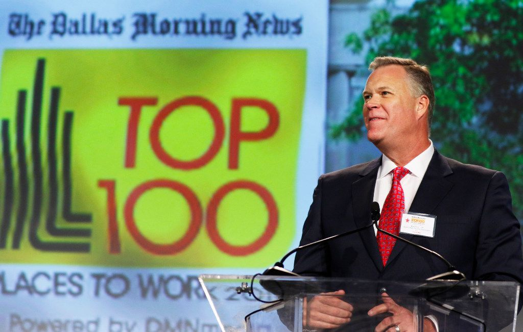 Brad Reid, president of Scott +Reid General Contractors Inc., speaks after accepting the award for best No. 2 Small Company at the Top 100 Place to Work luncheon at the Dallas Omni Hotel on Friday, November 17, 2016 in Dallas, Texas. (David Woo/The Dallas Morning News)