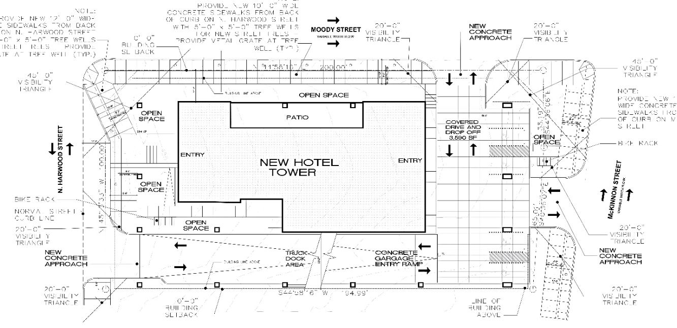 The high-rise hotel is planned at the corner of McKinnon and Moody streets near the Crescent.