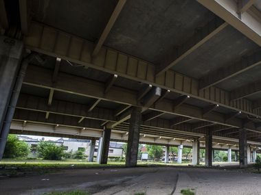 The empty lots beneath I-345 in the Deep Ellum neighborhood of Dallas on Friday, May 22, 2020.