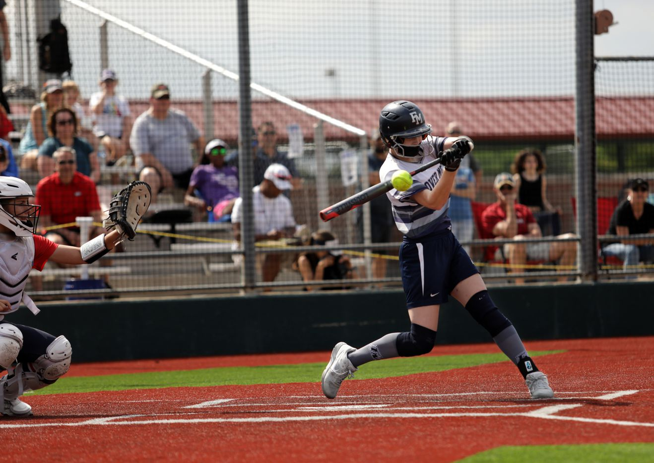 Flower Mound High School player #8, Carsyn Lee, hits the ball during a softball game against Allen High School at Allen High School in Allen, TX, on May 15, 2021. (Jason Janik/Special Contributor)