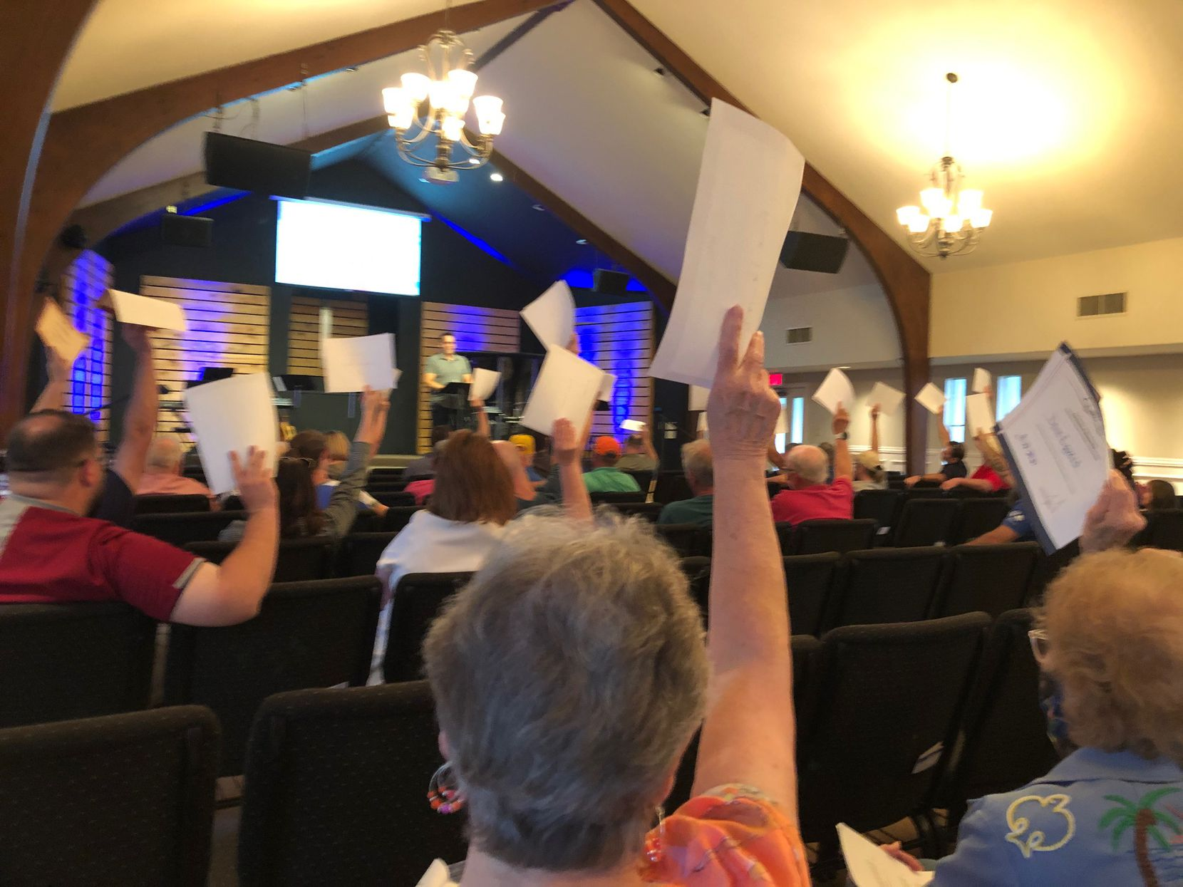 Members of Lonesome Dove Baptist Church assumed control of the cemetery association at a September 2021 annual meeting. To vote, you needed a voting certificate which was raised for each vote to show you qualified.