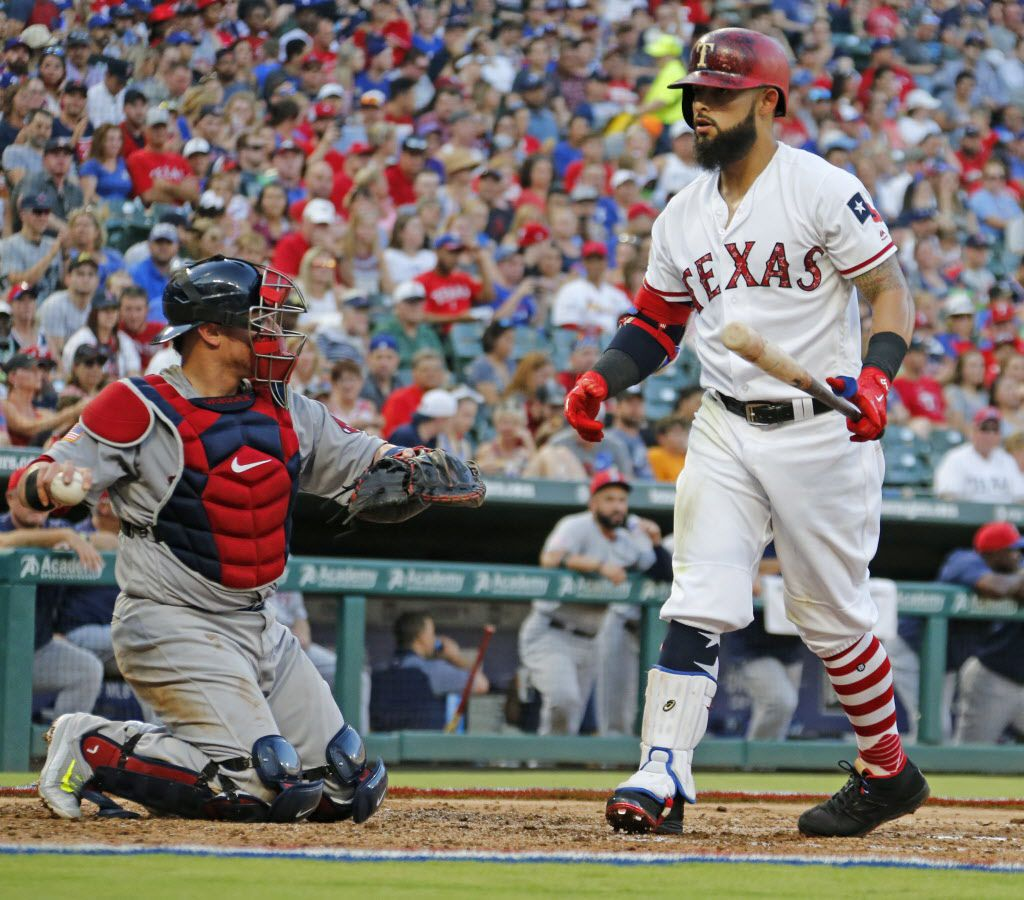 Texas Rangers second baseman Rougned Odor (12) strikes out during the Boston Red Sox vs. the Texas Rangers major league baseball game at Globe Life Park in Arlington, Texas on Tuesday, July 4, 2017. (Louis DeLuca/The Dallas Morning News)