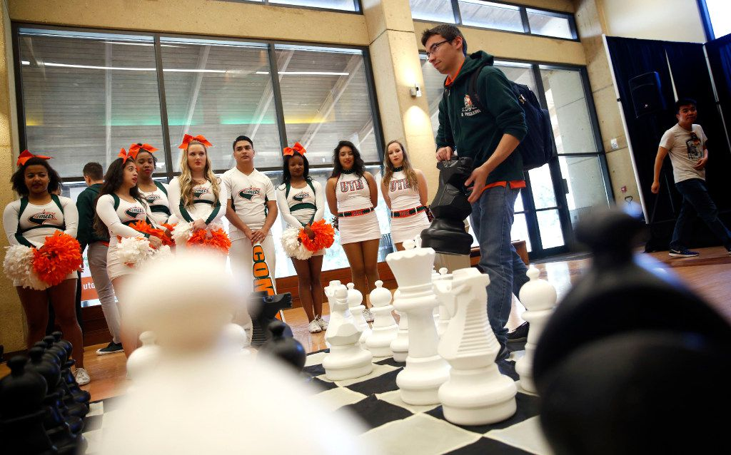 Alex Velikanov, a chess team member, plays against another student during a pep rally for the University of Texas at Dallas chess team on Wednesday. The chess team will compete in the 2017 Final Four Tournament in New York City.