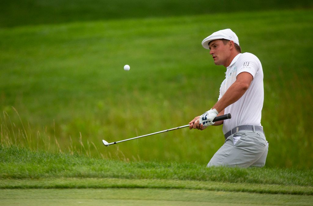 Bryson DeChambeau hits a ball out of the rough on the 13th hole during the third round of the 3M Open golf tournament in Blaine, Minn., Saturday, July 6, 2019. (Alex Kormann/Star Tribune via AP)