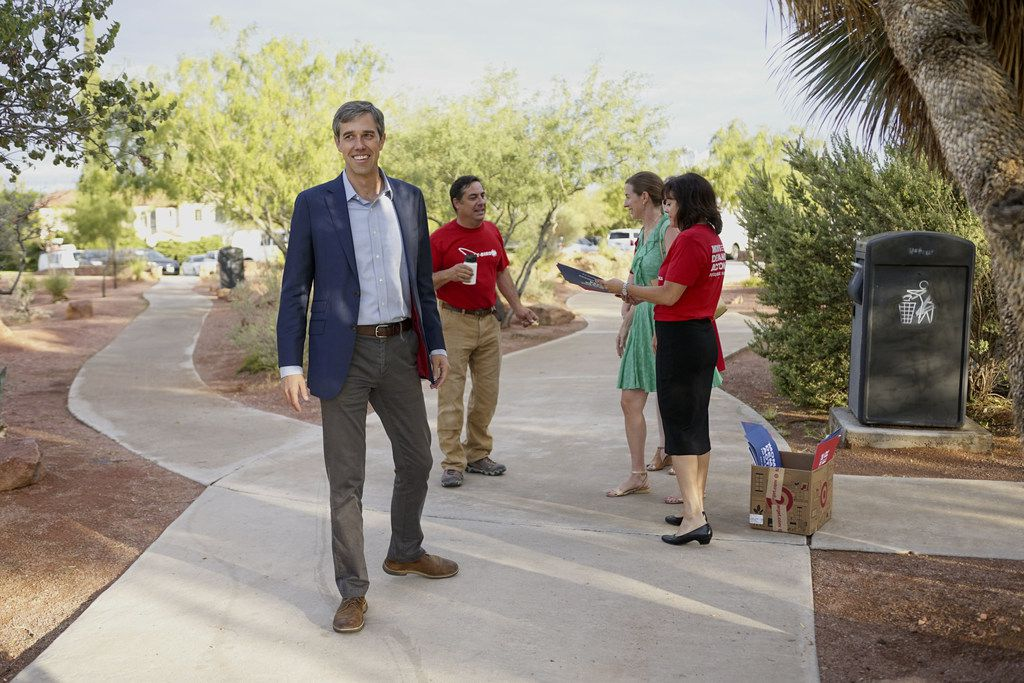 ORourke and his wife Amy arrive at a campaign re-launch on August 15, 2019 in El Paso.