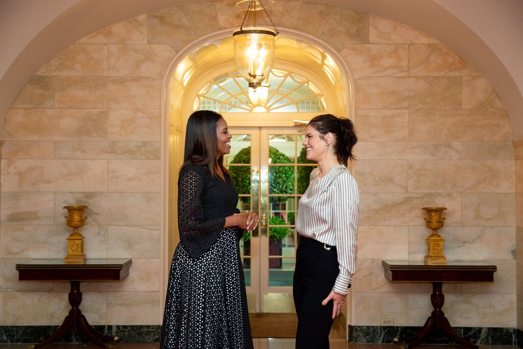 first lady Michelle Obama with stylist Meredith Koop at the White House in Washington, in September 2016.
