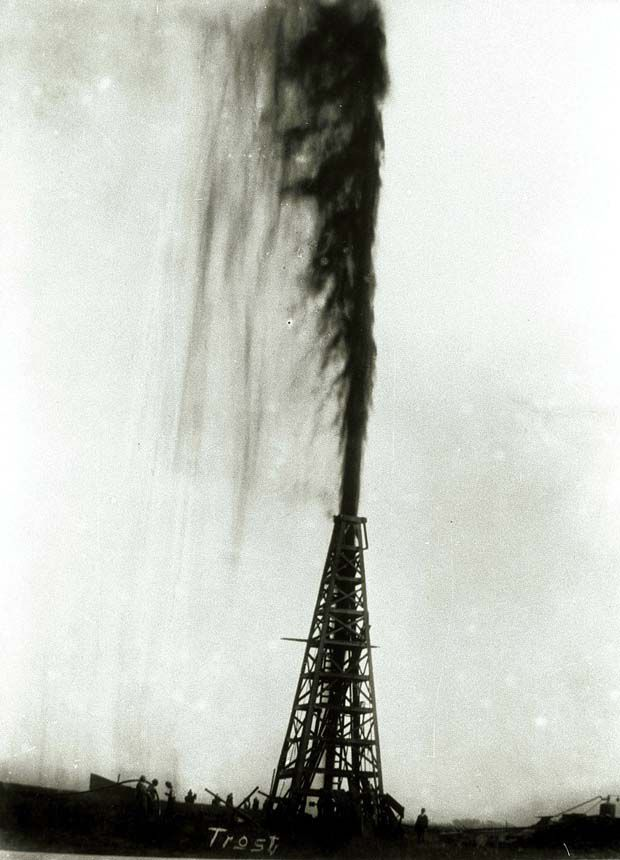 In this 1901 photo provided by the Texas Energy Museum, the Lucas gusher at Spindletop blows oil an estimated 200 feet in the air in the days after the initial blowout on Jan. 10, 1901, near Beaumont. When a well piercing the salt dome first gushed in 1901, it introduced a cheap supply of commercial energy that transformed the oil industry and American life. (AP Photo/Texas Energy Museum via Houston Chronicle, Frank J. Trost)