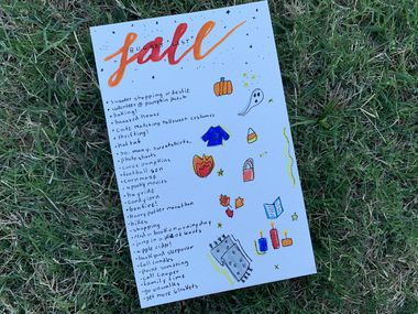 Katie's fall bucket list includes eating candy corn and taking a hayride.