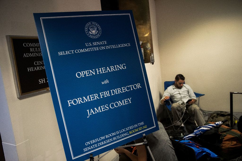 WASHINGTON, DC - JUNE 08: A sign sits outside the entrance to the hearing room before former FBI Director James Comey testifies before the Senate Intelligence Committee in the Hart Senate Office Building on Capitol Hill June 8, 2017 in Washington, DC. Comey said that President Donald Trump pressured him to drop the FBI's investigation into former National Security Advisor Michael Flynn and demanded Comey's loyalty during the one-on-one meetings he had with president. (Photo by Drew Angerer/Getty Images)