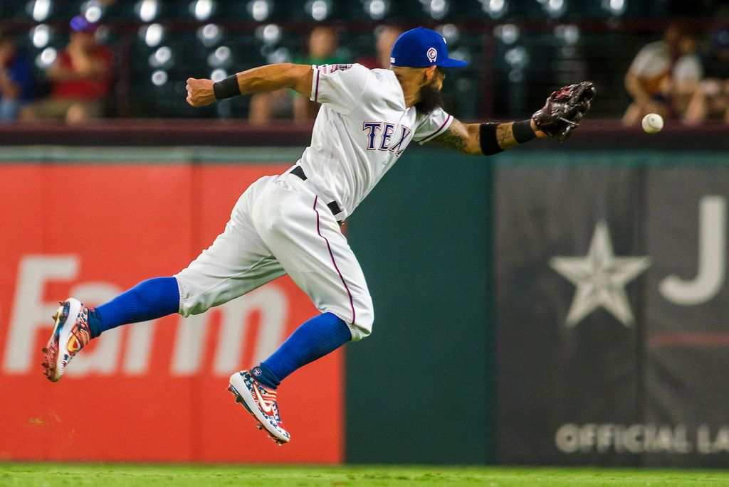 Texas Rangers second baseman Rougned Odor canÕt get to a single off the bat of Tampa Bay Rays pinch hitter Nate Lowe during the ninth inning at Globe Life Park on Wednesday, Sept. 11, 2019, in Arlington. (Smiley N. Pool/The Dallas Morning News)